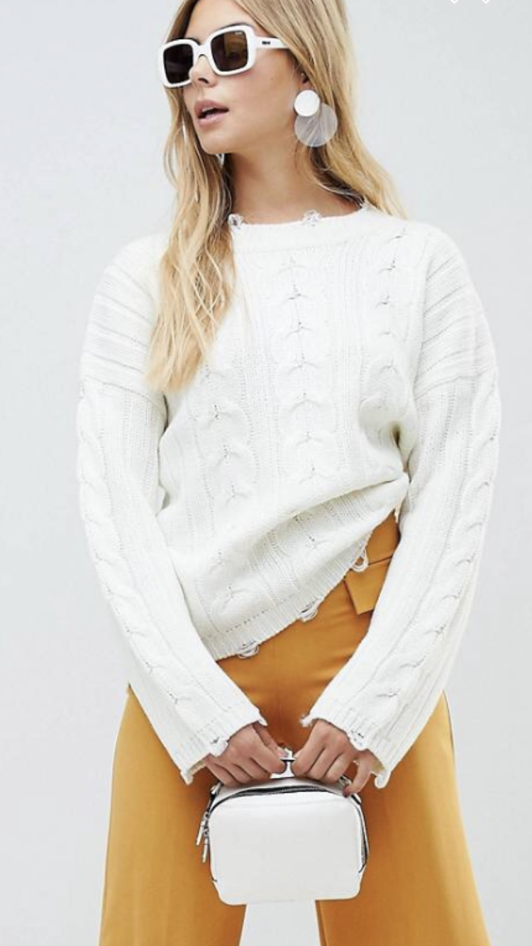 Cable knit oversized distressed sweater