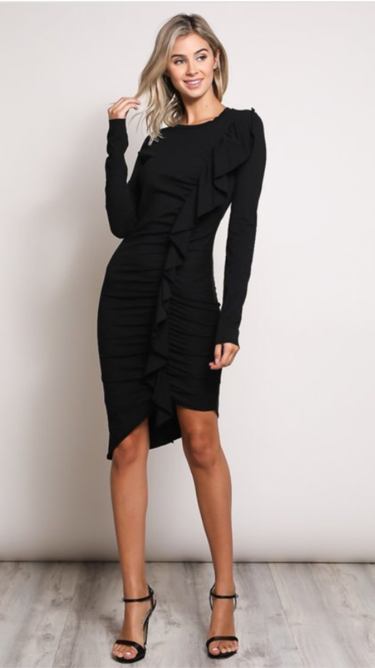 Ruffled front LBD with asymetric hem