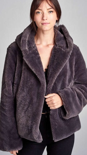 Cozy faux fur coat in charcoal