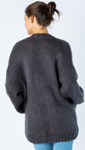 Hand Knit Chunky Cardigan // Charcoal
