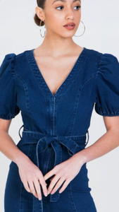 Halsey Puff Sleeve Flare Leg Denim Jumpsuit