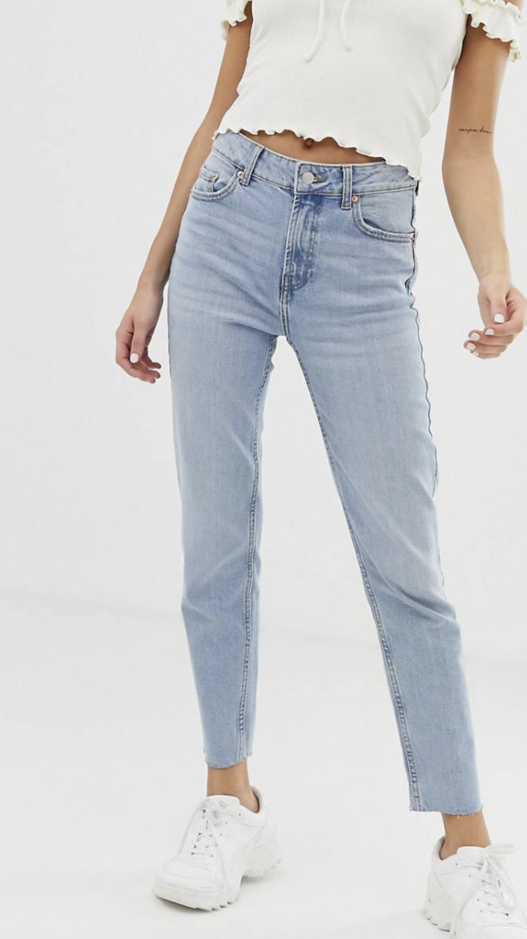 High Rise Light Blue Cropped Jean