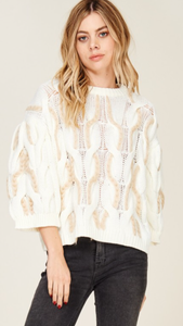 Two tone cable knit with balloon sleeves