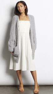 Bridgette plush  cardigan in cement grey.