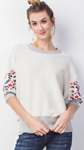 Eleanor pullover with floral embroidery