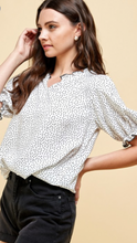 Polka Dot Ruffle Top