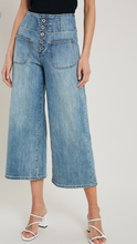 Cropped Wide Leg Button Front Jeans