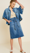 Paperbag Denim Pencil Skirt