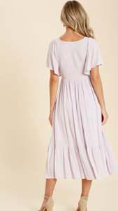 Lilac Flutter Sleeve Midi Dress