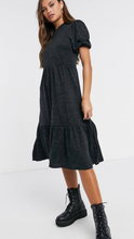 Tiered Sweater Dress With Puff Sleeves // Charcoal