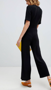 Molly tie front knit jumpsuit