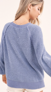 Carino Soft Knit Sweater // Steele Blue // Natural