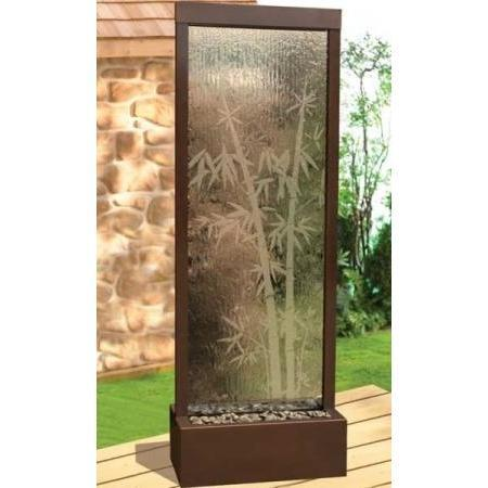 6' Gardenfall Glass Etched Bamboo Dark Copper Floor Fountain - Earth Inspired Products