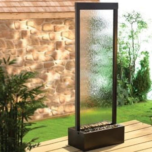 8' Gardenfall Clear Glass Black Onyx Floor Fountain - Earth Inspired Products