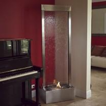 6' Gardenfall Glass & Stainless Steel Fire Floor Fountain - Earth Inspired Products