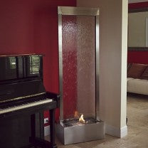 8' Gardenfall Glass & Stainless Steel Fire Floor Fountain - Earth Inspired Products