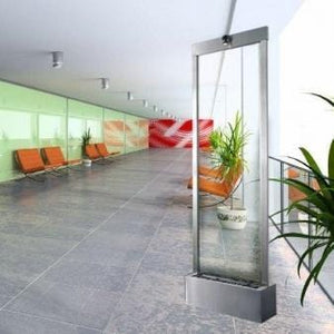 6' Gardenfall Clear Glass Stainless Steel Floor Fountain - Earth Inspired Products