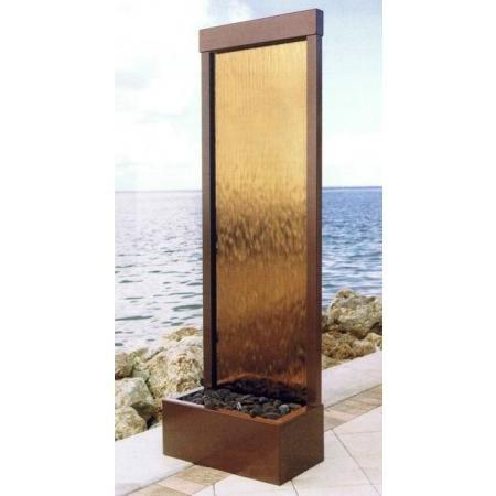 8' Gardenfall Bronze Mirror Dark Copper Floor Fountain - Earth Inspired Products