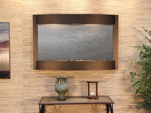 Calming Waters Antique Bronze Bronze Silver Mirror Wall Fountain Indoors