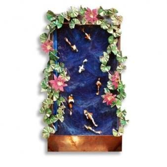 Koi Lotus Painted Wall Fountain - Earth Inspired Products