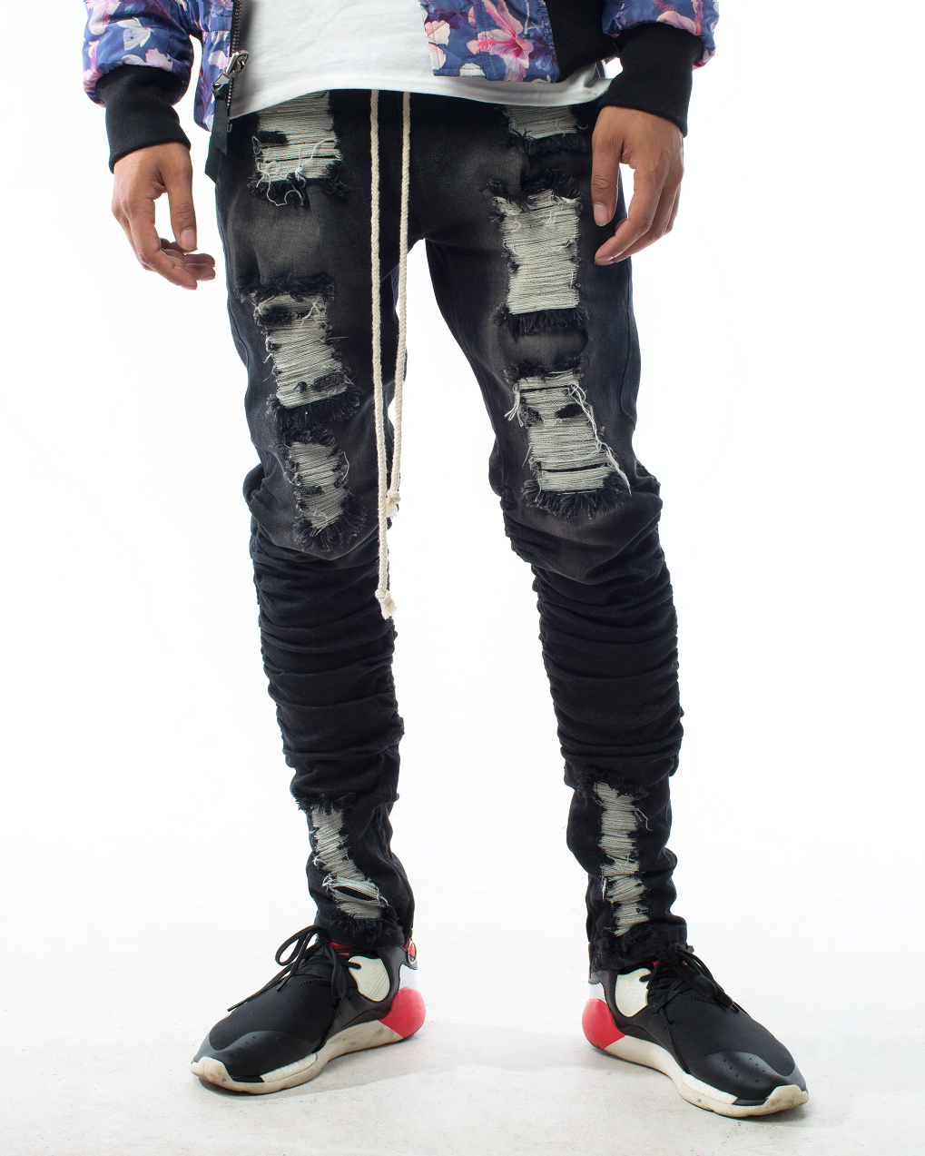 Distressed Patched Black Faded Salvaged Denim