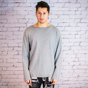 Split hem long sleeve sweater