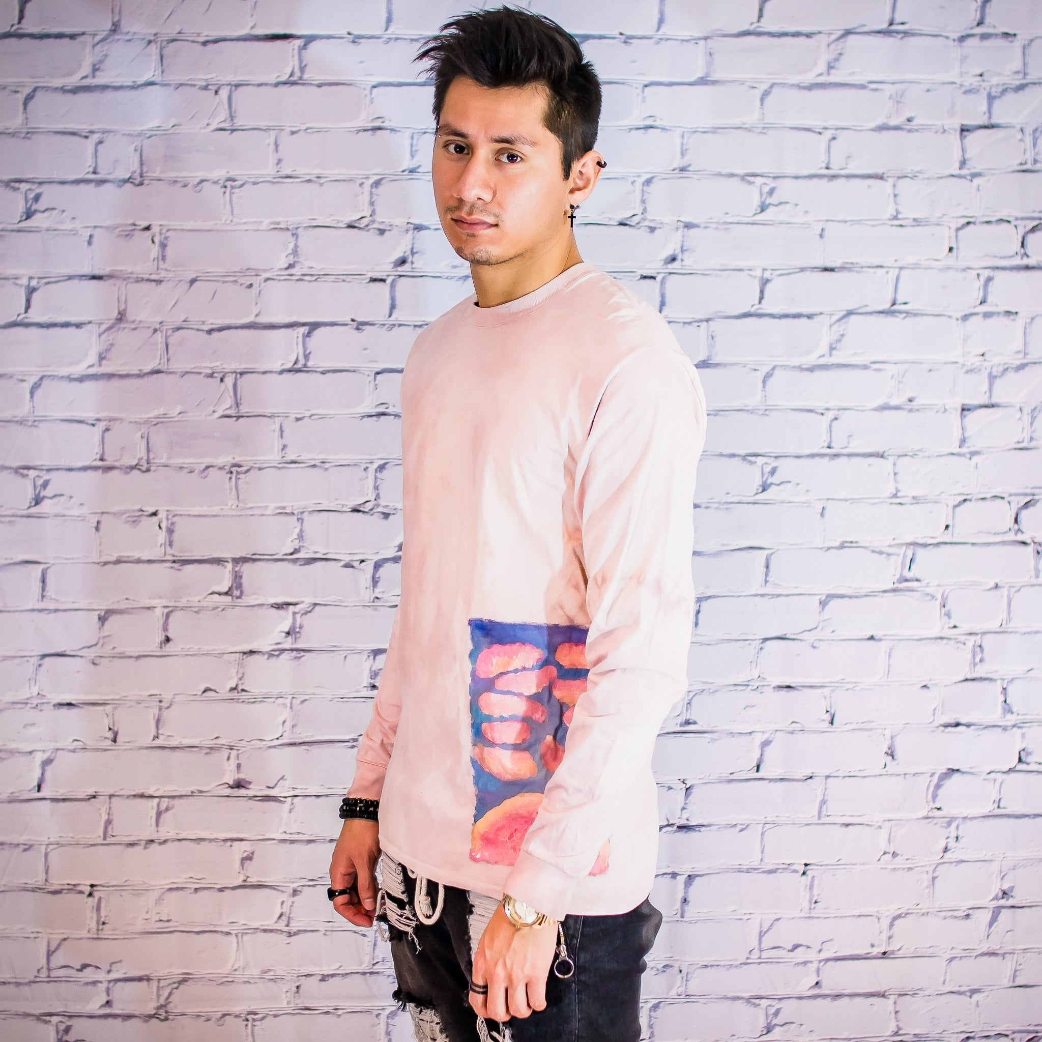 Powder dyed hand painted long sleeve