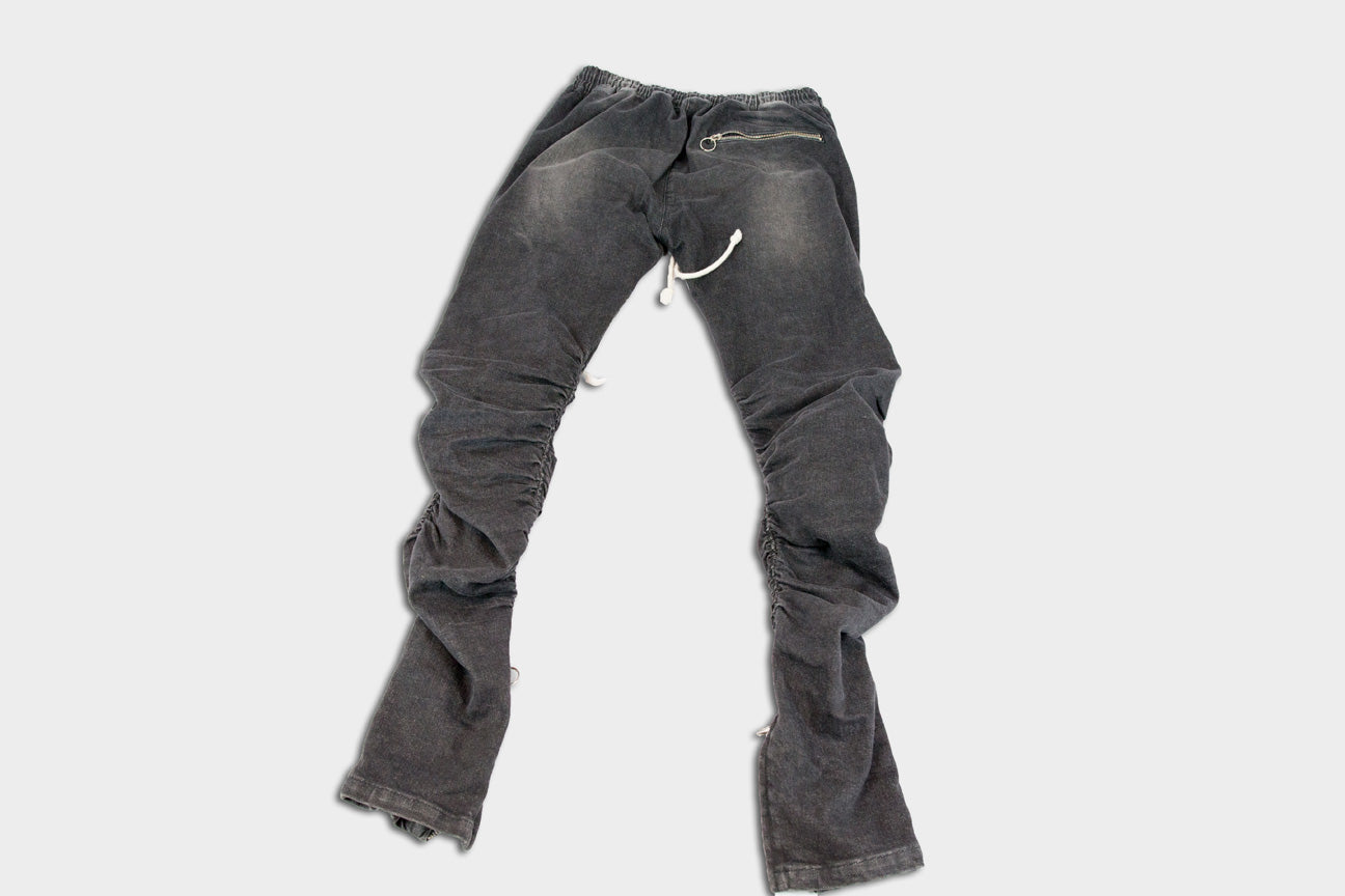 Distressed Patched Black Faded Salvaged Denim Sample