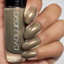 olive and brown with golden shimmer vegan cruelty free nail polish. 5 free