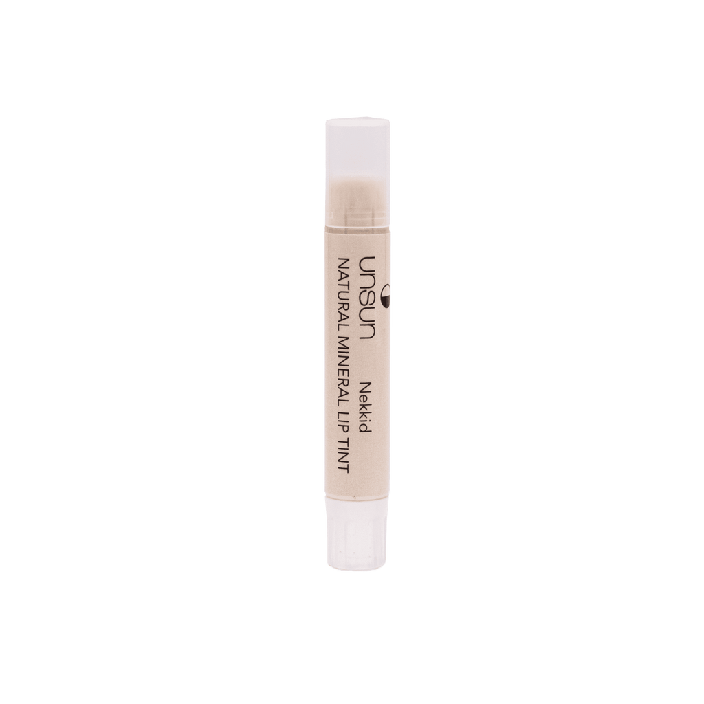 Nude with shimmer moisturizing and long lasting lip balm with SPF 18 to protect lips from the sun.