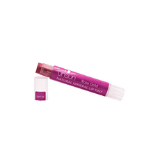 Deep rose gold moisturizing and long lasting lip balm with SPF 18 to protect lips from the sun.