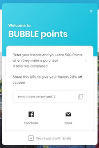Join our new BUBBLE points reward program!