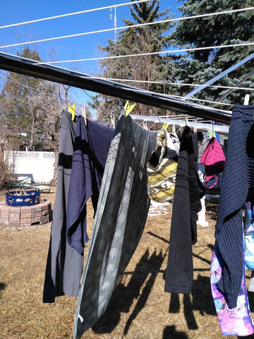 clothes drying on outdoor drying line