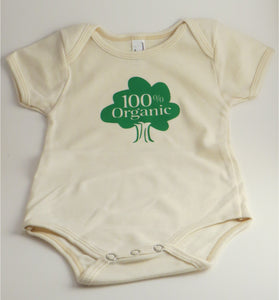 "Organic Cotton Onesie - ""100% Organic"" - Natural Colour"