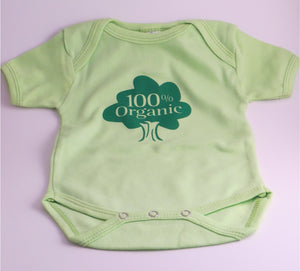 "Organic Cotton Onesie - ""100% Organic"" - Light Green Colour"
