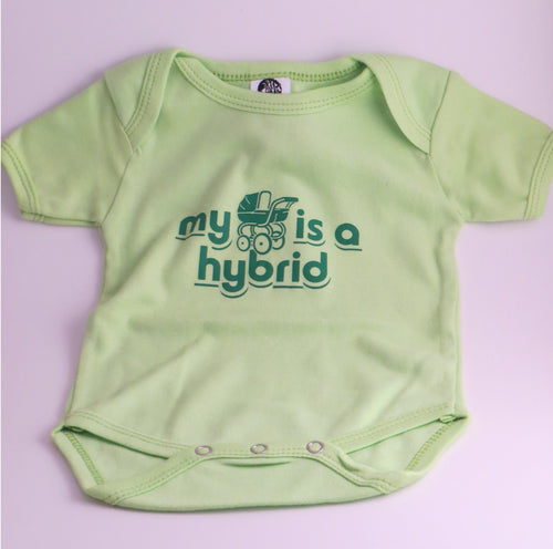 "Organic Cotton Onesie - ""My Stroller is a hybrid"" - Claudia's Choices"