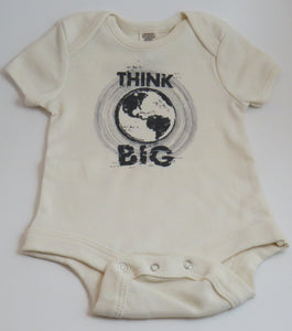 "Organic Cotton Onesie - ""Think Big"" - Natural Colour"