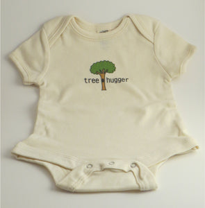 "Organic Cotton Onesie - ""tree hugger"" - Natural Colour - Claudia's Choices"