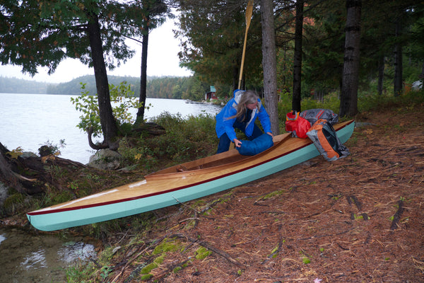 Fox Canoe storing gear for camping trip