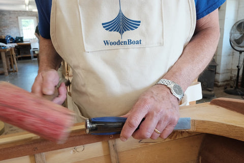 Student at work at WoodenBoat School