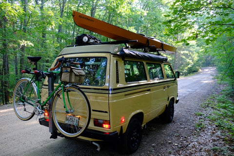 VW Camper with gear