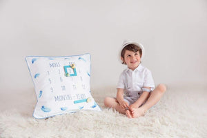Timéo - Milestone Cushion Cover Blue Feathers - Milestone Pillow Cover