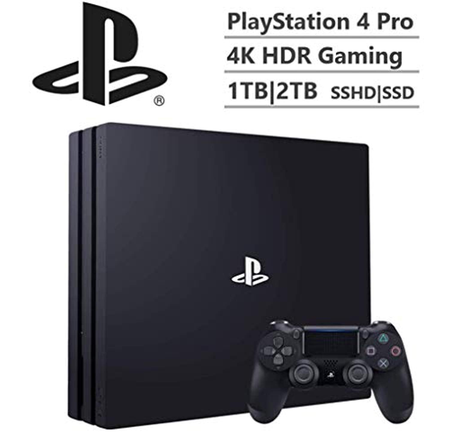 Sony Playstation 4 Pro 4K HDR Gaming Console with DualShock 4 Wireless Controller Upgrade Your PS4 Storage to 1TB|2TB SSHD|SSD