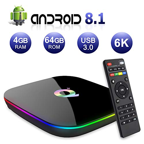 Best Android TV Box Version 2019 Q Plus Android 8.1 TV Box 4GB RAM 64GB ROM H6 Quad-core Mali-T720MP2 WiFi 2.4GHz