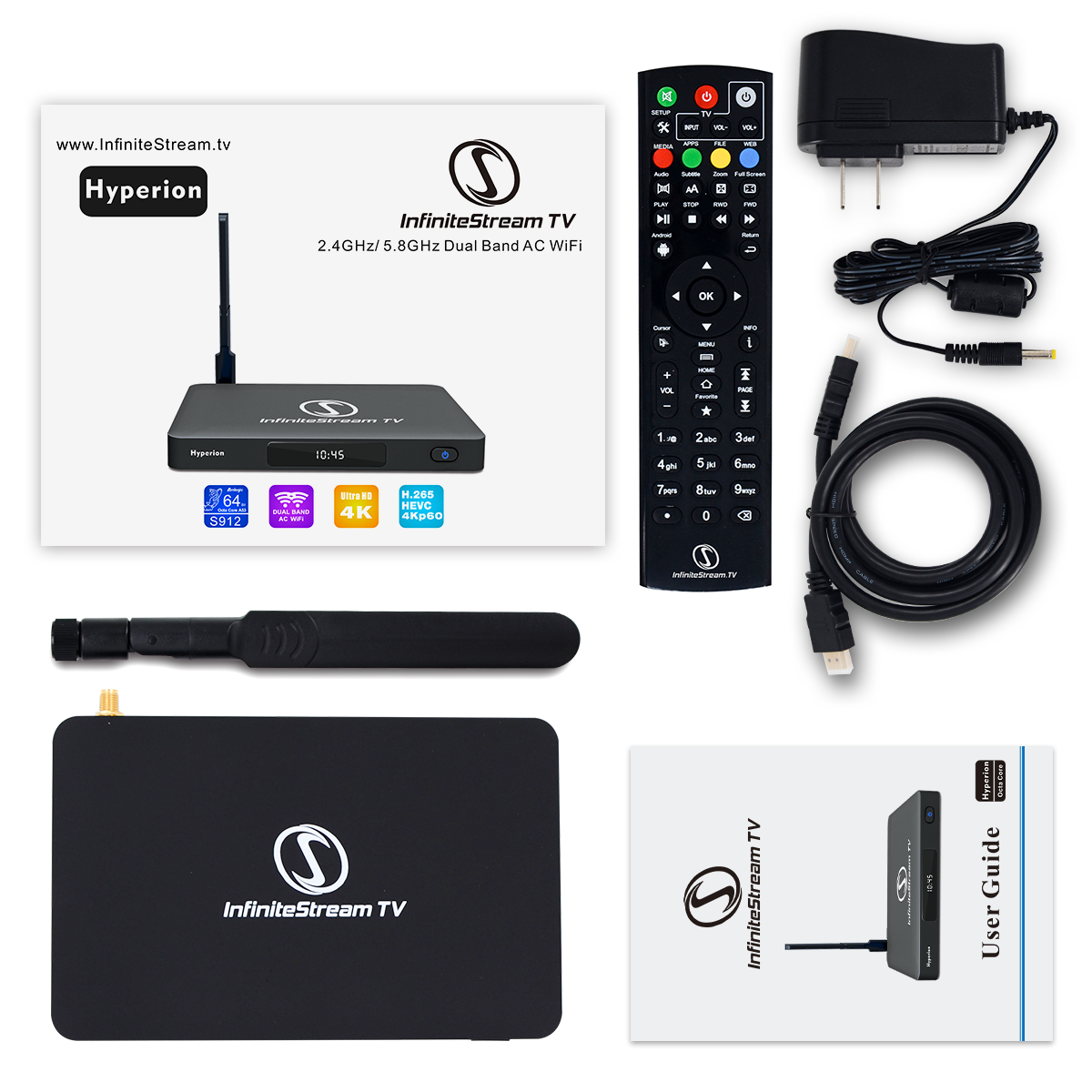 Hyperion Fastest Android Streaming TV box in HD , 4K Octa core, 2/16GB Memory, 2.4-5.8GHz Dual Band WiFi