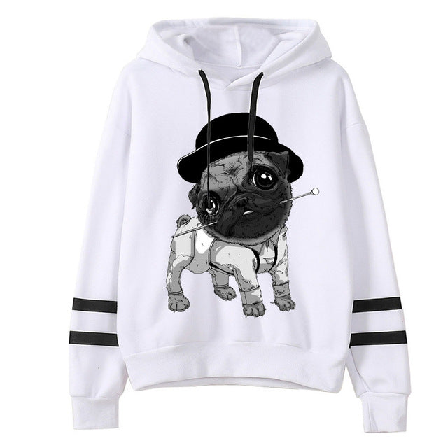 Women Funny dog Pug Life Print Hoodies Printed Sweatshirts Long Sleeve