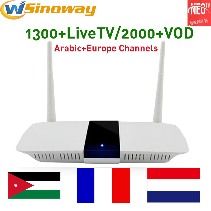 Discount IPTV French Box Arabic IPTV Box Smart Android TV Box with 1 Year  IPTV Subscription NEOTV Channels Dutch Turkish French IPTV Box