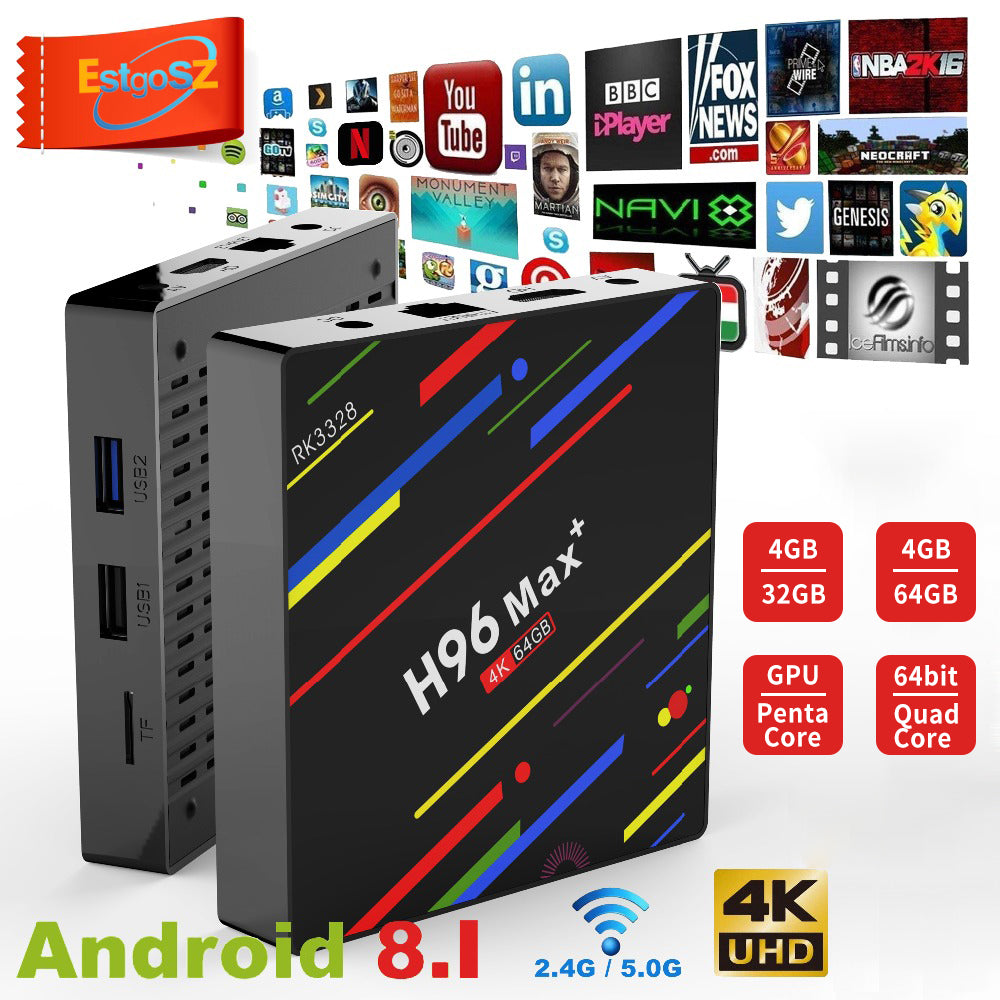Android Streaming box H96 MAX Plus Android 8.1 smart TV Box 4GB RAM 64GB ROM Set Top Box RK3328 2.4G/5G Wifi 4K