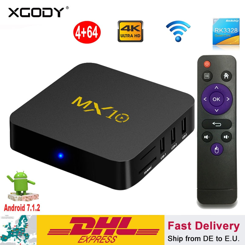 Newest Android Streaming Box Smart TV BOX MX10 4+64GB Android 8.1 RK3328 Smart TV BOX Quad Core 4K HD Wifi