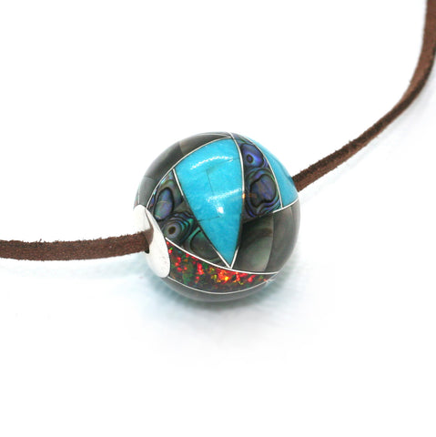 Inlay bead, 25mm with turquoise, abalone, mother of pearl and opal